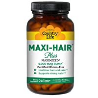Country Life Maxi-Hair Plus Maximized with 5,000mg Biotin - 240 Vegetarian Capsules