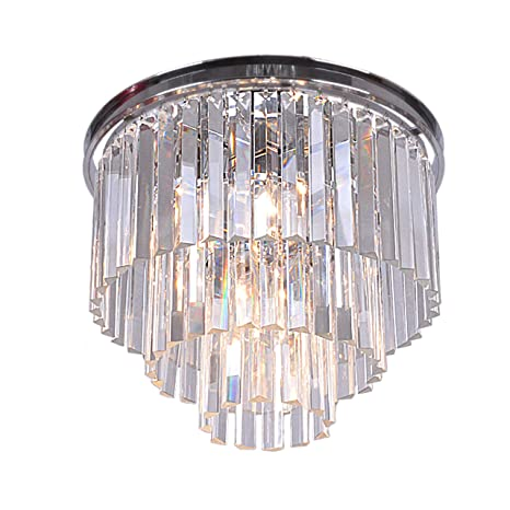 Justina 5 light crystal glass prism 3 tier flush mount chrome justina 5 light crystal glass prism 3 tier flush mount chrome chandelier aloadofball Gallery
