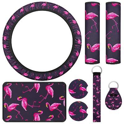 8 Pieces Flamingo Car Accessories Set, Flamingo Steering Wheel Cover, Center Console Armrest Pad Cover, 2 Pieces Flamingo Seat Belt Shoulder Pads, 2 Pieces Car Cup Holder Coaster, 2 Pieces Keyring: Automotive