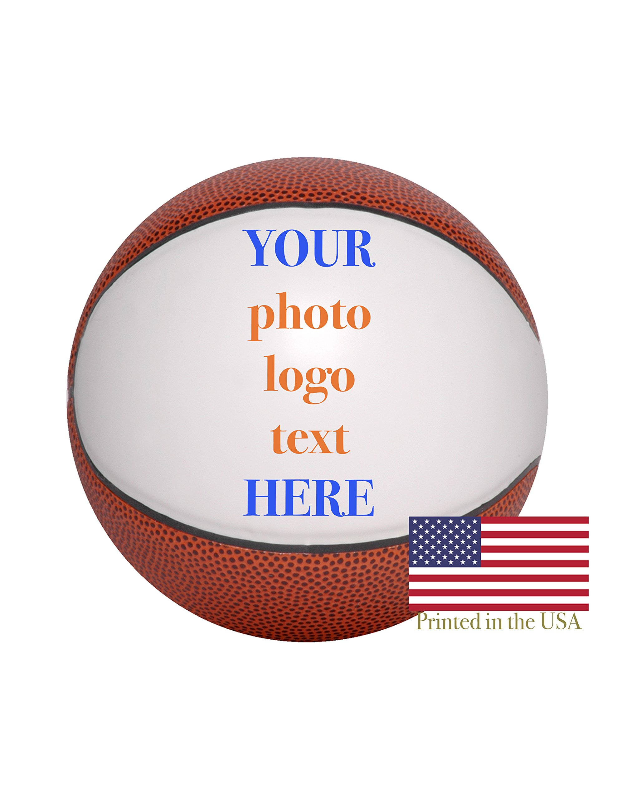 Custom Personalized Basketball 12 Inch Full Sized Basketball Ships Next Day, High Resolution Photos, Logos & Text on Basketball Balls for Trophies, Personalized Gifts