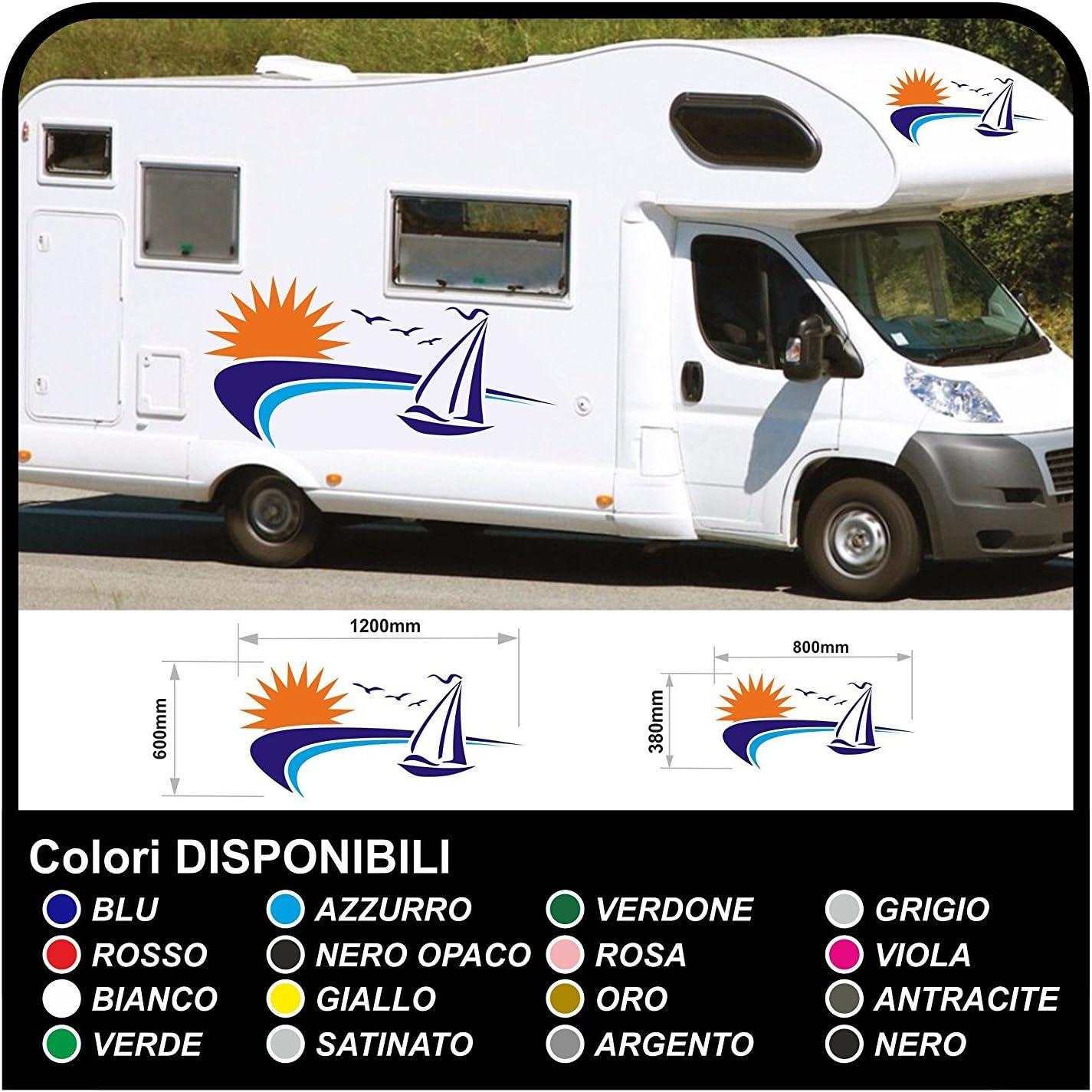 codice articolo WA102 con motivo di rosa dei venti Adesivo per roulotte e camper Clickzilla
