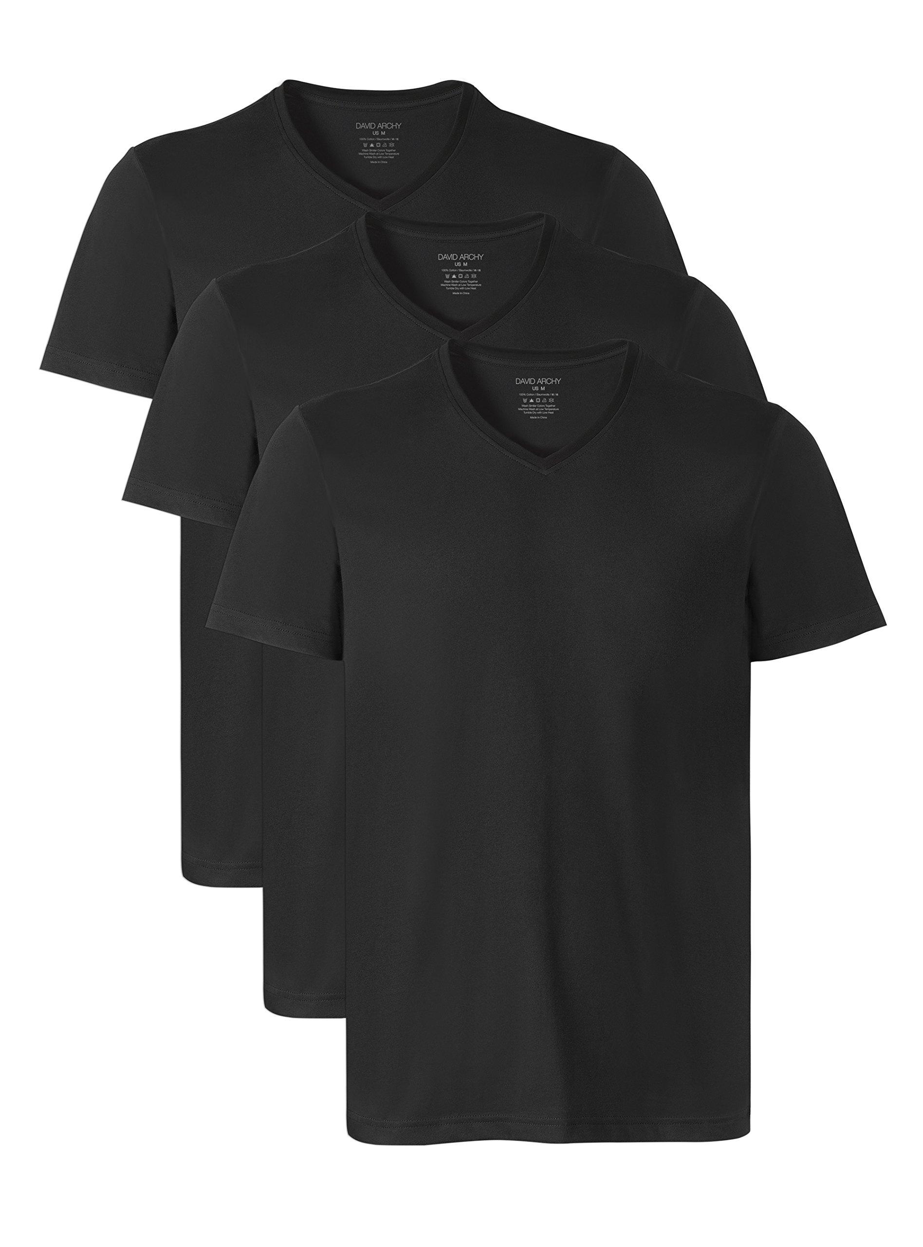 David Archy Men's Short Sleeve V-Neck Cotton Undershirts T-Shirts in 3 Pack (M, Black)