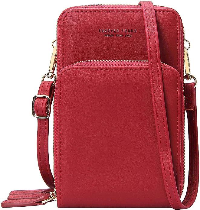 ZUDY Geniue Leather Small Crossbody Bag Cell Phone Purse Mini Handbags