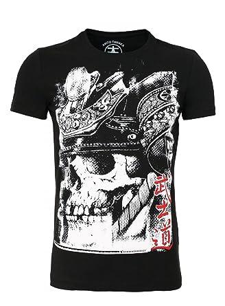 Akito Tanaka T-Shirt Herren Printshirt Slim Fit Skull Männer Totenkopf  Samurai , Grösse  42fa9a219a