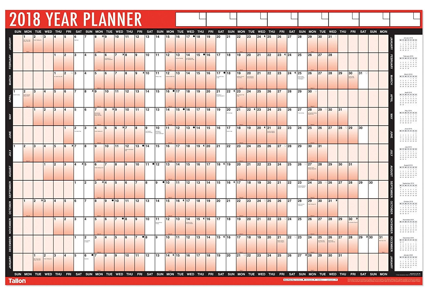 2018 A1 Laminated Yearly Wall Planner Calendar With Wipe Dry Pen & Sticker Dots TICHI®