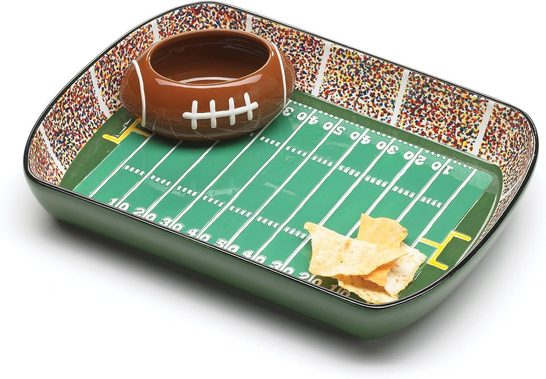 Amazon Com Burton And Burton Ceramic Football Stadium Chip And Dip Serving Set Football Serving Dishes Chip Dip Sets