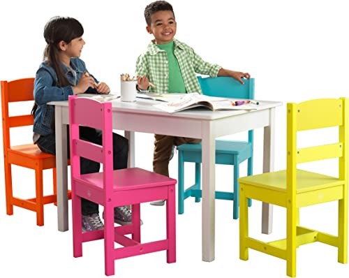 ShamBo Highlighter Table 4 Chair Set Multi Color