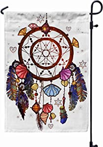 GROOTEY Flag Garden,Home Yard Decorative 12X18 Inches Colored Bohemian Dreamcatcher Gemstones Ethnic Native American Chic Design Mystery Tribal Print Double Sided Seasonal Garden Flags