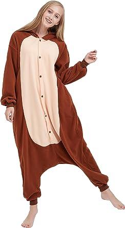Fandecie Animal Costume Animal Traje Pijamas Pijamas Jumpsuit Mono Mujer Hombre Cosplay Adulto para Carnaval Animal Halloween