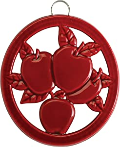 Old Dutch Two-Tone Red Round Apple Rooster Cast Iron Trivet, 7 inch diameter