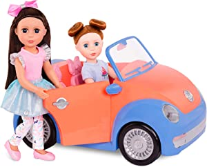 """Glitter Girls by Battat - Convertible Car for 14"""" Dolls - Toys, Clothes & Accessories for Girls 3-Year-Old & Up, Blue, Orange, Pink"""