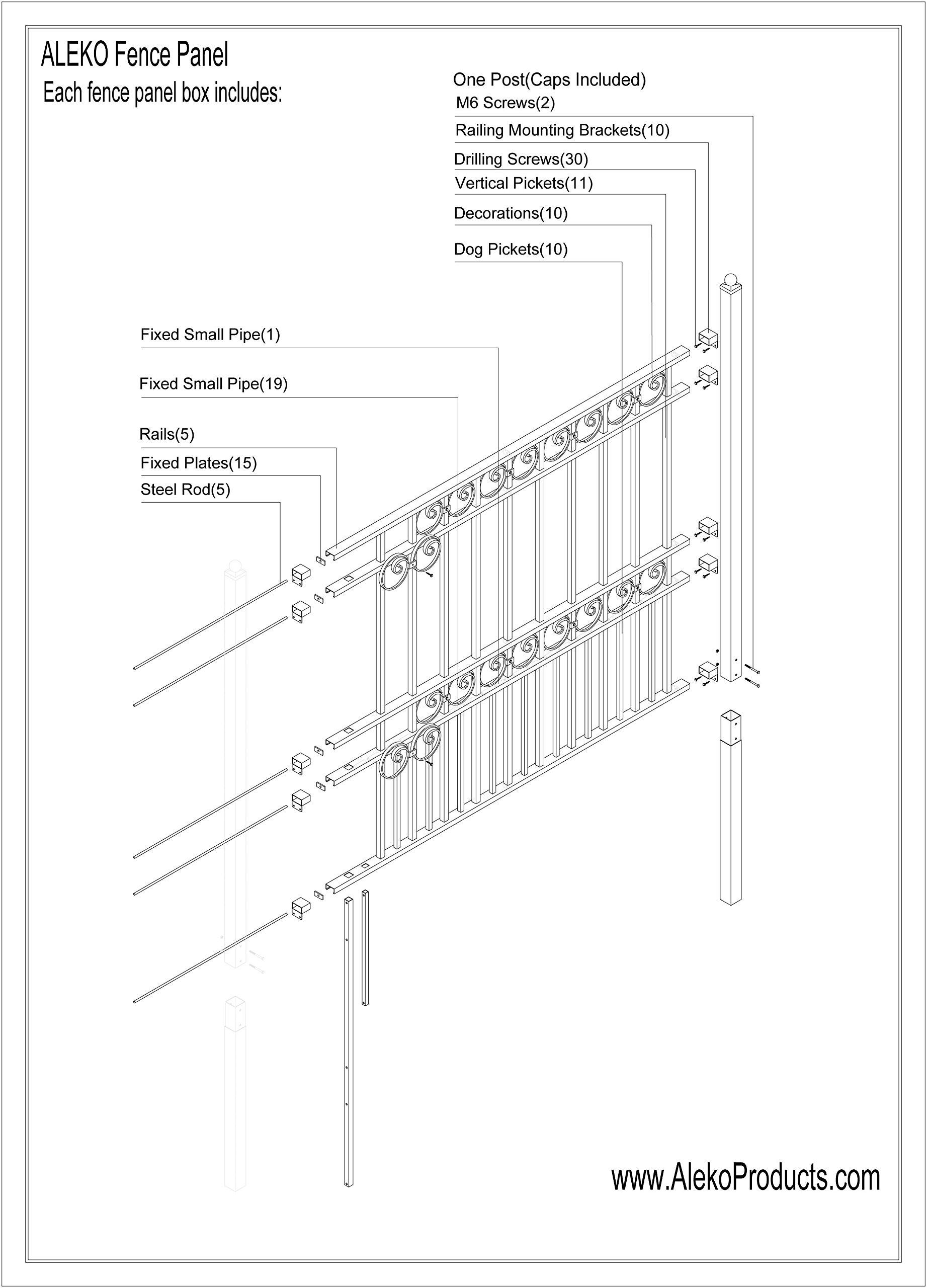 ALEKO Paris Style DIY Iron Wrought Steel Fence 5.5' X 5' Ornamental Fence