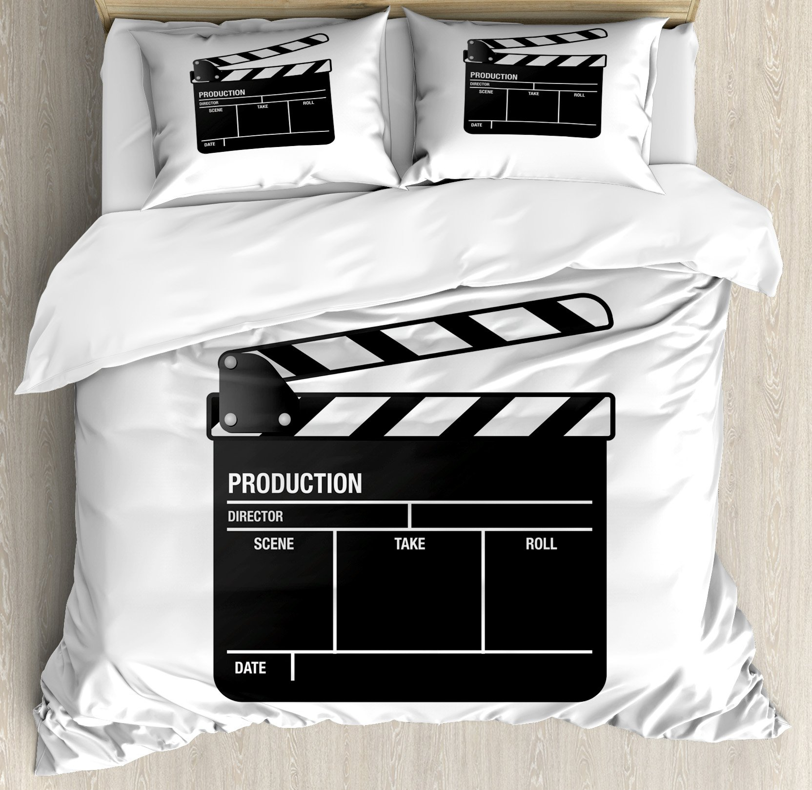 Ambesonne Movie Theater King Size Duvet Cover Set, Realistic Illustration of a Clapper Board Symbol for Film and Video Industry, Decorative 3 Piece Bedding Set with 2 Pillow Shams, Black White