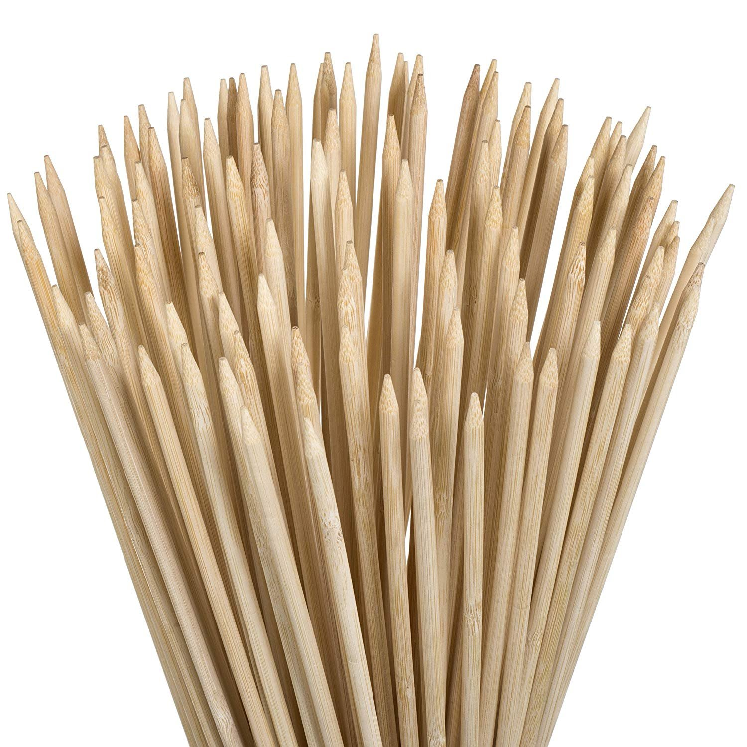 YEZZL Marshmallow Roasting Sticks Kebab Barbecue Skewers 100 Pieces 35Inch Long 6mm Extra Thick Heavy Duty Wooden Environmentally Safe 100% Biodegradable S'mores Sticks Bonus Included Outdoor Fun