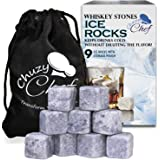 Whiskey Stones Ice Cube Rocks – Set of 9 Reusable Whisky Wine & Beverage Chilling Rocks – With Velvet Gift Bag for Indoor & Outdoor - Bar & Party Accessories – Chuzy Chef