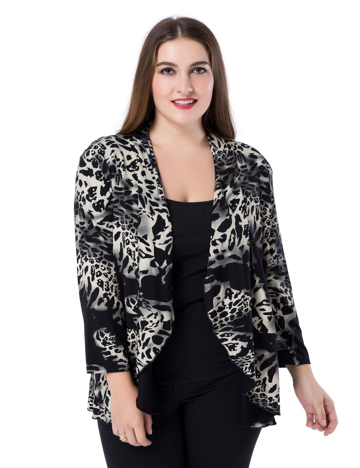 Chicwe Women's Plus Size Leopard Printed Casual Blazer Jacket - Waterfall Open Front Ivory L