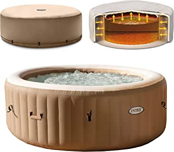 Intex 4-Person PureSpa Portable Bubble Massage Spa Set with Deluxe Energy Efficient Cover