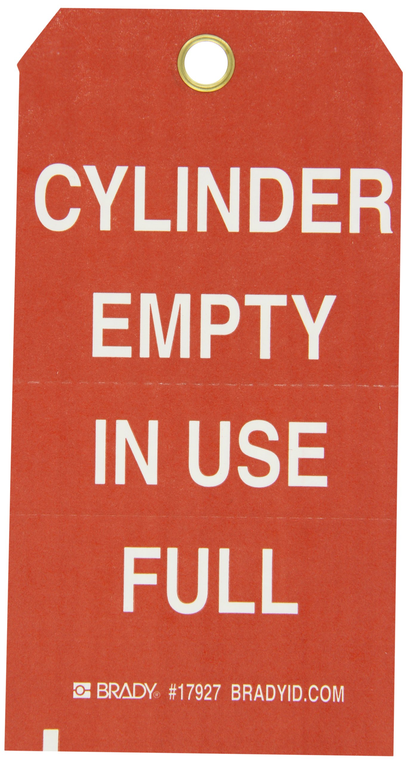 Brady 17927 5-3/4'' Height, 3'' Width, B-853 Cardstock, White On Red Color Cylinder Status Tag, Front And Back Legend ''Cylinder Empty In Use Full'' (Pack Of 100)