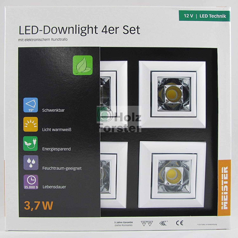 MEISTER LED Downlight Quadro 12Volt 3,7Watt, 4er Set, Weiß Weiß Weiß c0c7fc