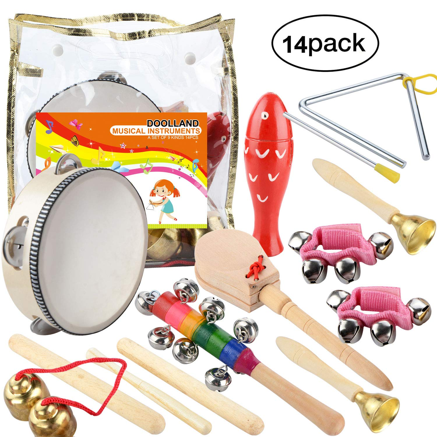 Doolland Musical Instruments Xylophone Set Percussion Toy Rhythm Band Set Toddler Wooden Percussion Toy - 14PCS