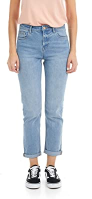 Suko Jeans Women's High Waisted Denim Pants - Roll up Cuff - MOM Jeans