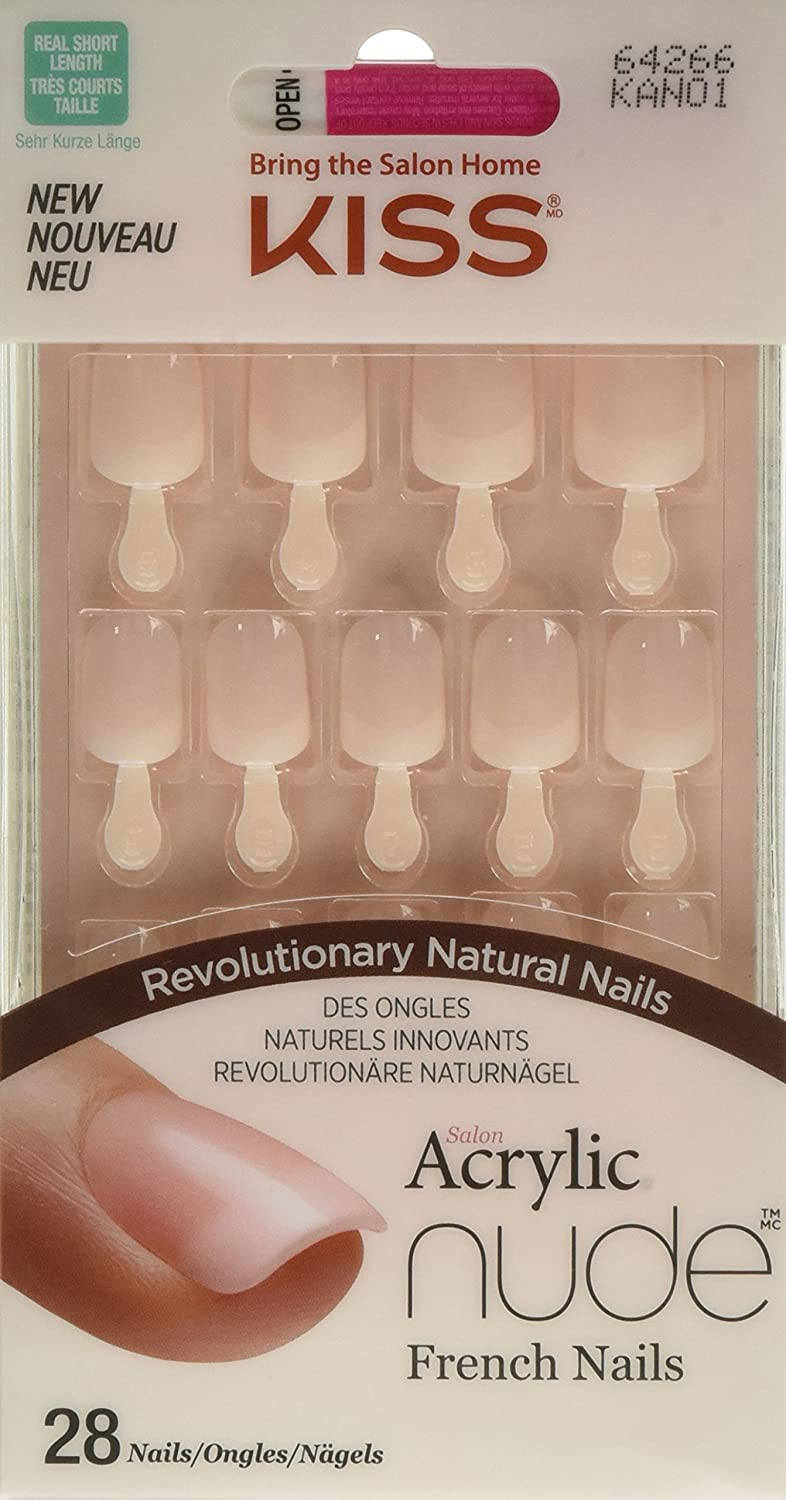 Amazon.com : Kiss Products 28 Kiss Acrylic Nude French Nails, 0.2 ...