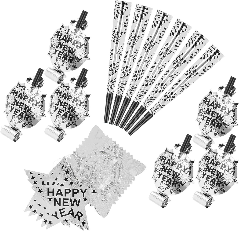 com-four® Conjunto de Fiesta de Fin de año de 13 Piezas - Guirnalda, trompetas y trompetas de Color Plateado para la víspera de año Nuevo para 12 Personas - 2020 (Set04-13 Piezas)