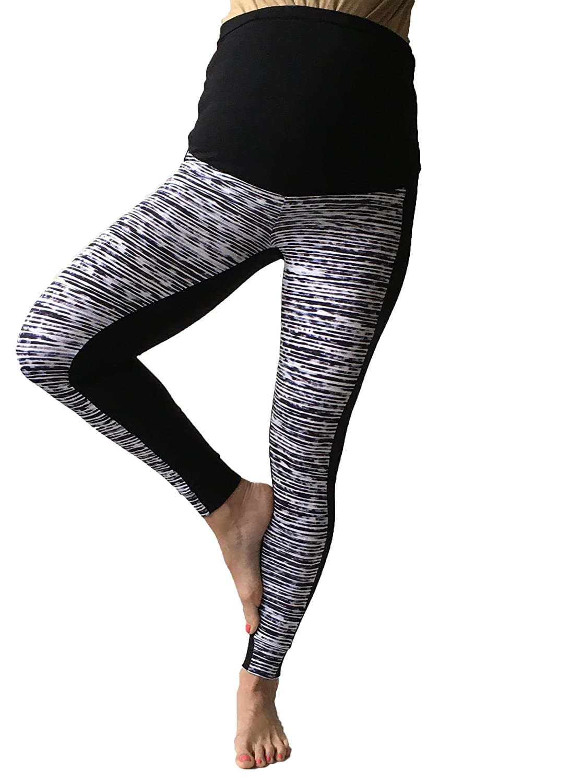 Pregnancy Yoga Wear Multicoloured print leggings Maternity Zigzag Leggings Over bump Chevron Print No See Through Maternity Leggings M, black