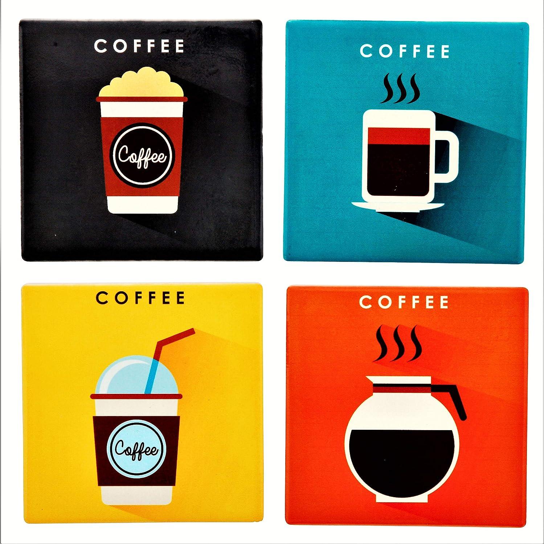 Planet エスニック 活き活き活き活き活き活きとしたカラフルな明るいコーヒーセラミックコースターセット (4つのコースター、それぞれ約4 x 4インチ)、お揃いのダークウッドコースターホルダーと美しい「Coffee Time」ギフトボックス付き。   B07JF6N6BV