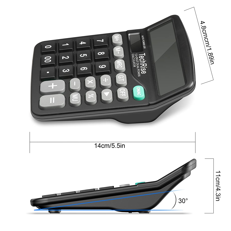 Tischrechner Taschenrechner Techrise Standard-Taschenrechner Dual-Power wissenschaftliche Solar und Batterie