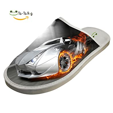 Racing Sports Car Cool Hip Hop Cotton Slippers Womens and Mens House Winter Indoor Warm Comfortable