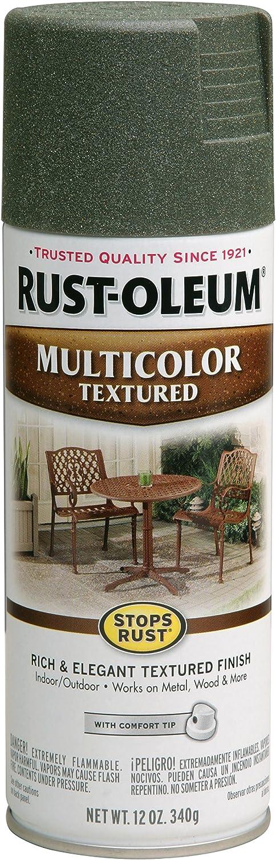 Rust-Oleum 223526 Stops Rust Multi-Color Textured Spray Paint, 12 oz, Deep Forest