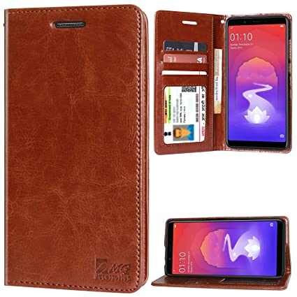 san francisco 6b8d8 84dcb DMG PU Leather Wallet Flip Cover Stand Case for Oppo RealMe 1 (Latchless ID  Brown)