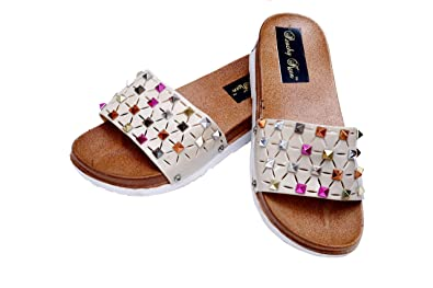 91e81982a PEACHY KEEN Designer Casual Flat Slide Slippers for Womens and Girls  Buy  Online at Low Prices in India - Amazon.in