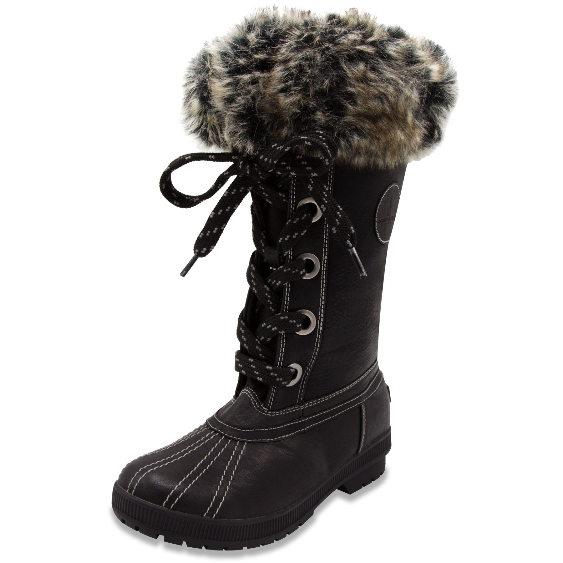 London Fog Womens Melton Cold Weather Waterproof Snow Boot Black 9 M US