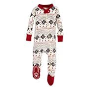 Burt's Bees Baby Baby 1-Pack Unisex Pajamas, Zip-Front Non-Slip Footed Sleeper PJs, Organic Cotton, Hand Drawn Snowflakes, 24 Months