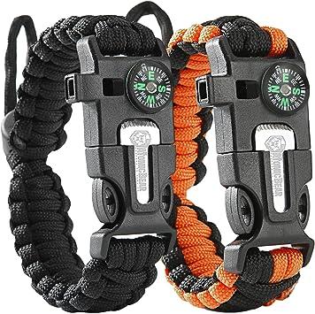 Atomic Bear Paracord Bracelet (2 Pack) – Adjustable Size – Fire Starter – Loud Whistle – Emergency Knife