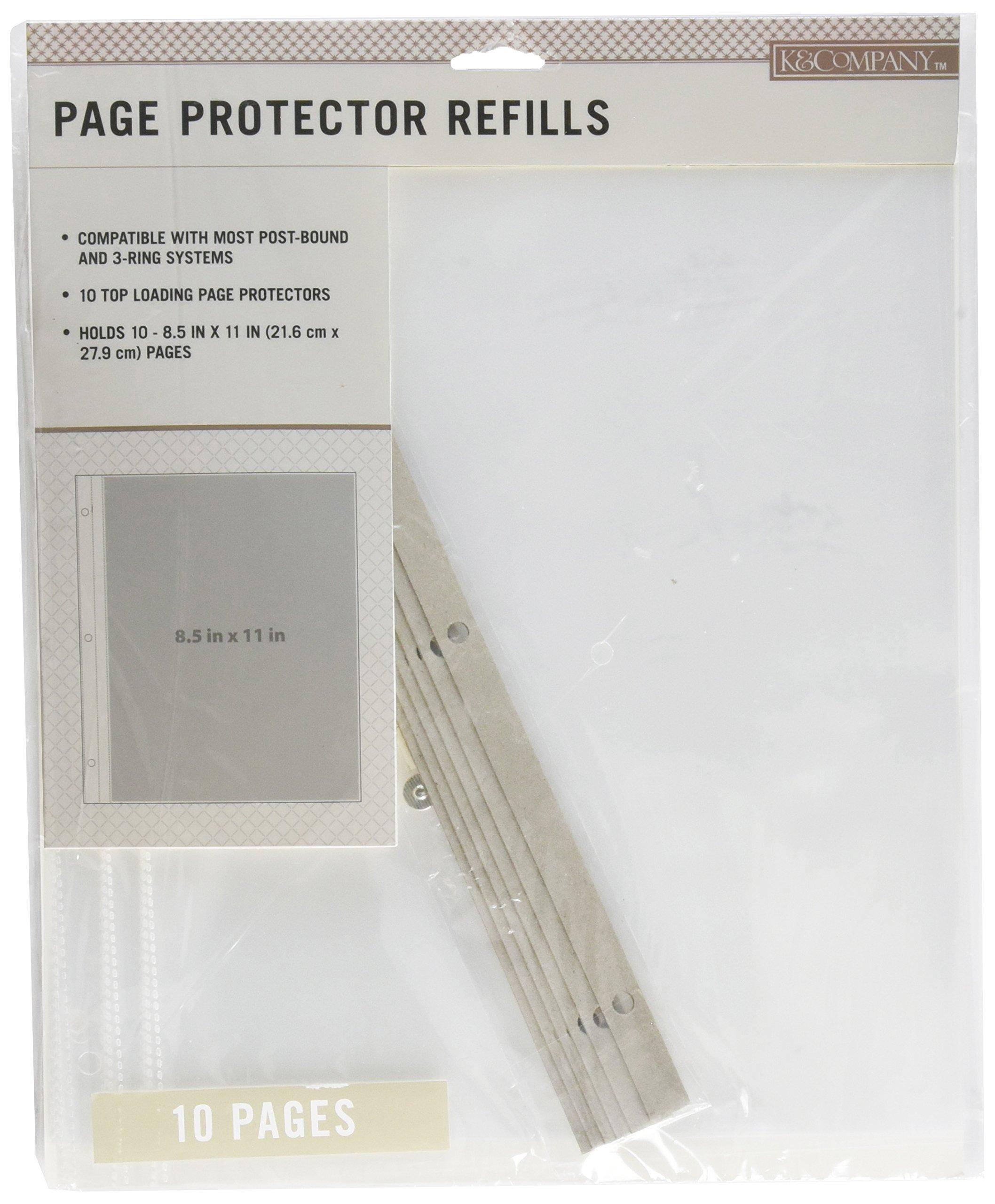 K&Company 30-705395 Post Bound Scrapbook Album Page Protector Refill Pack, Multicolor
