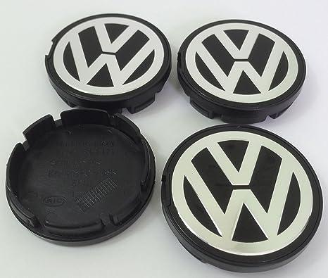 4 x Volkswagen 56 mm soporte de cromo negro logotipo insignia emblema rueda centro tapacubos tapas