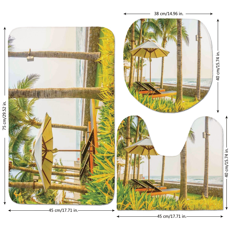 3 Piece Bathroom Mat Set,Seaside,Palm Trees Umbrella and Chairs Around Swimming Pool in Hotel Resort Image,Yellow Green and Tan,Bath Mat,Bathroom Carpet Rug,Non-Slip