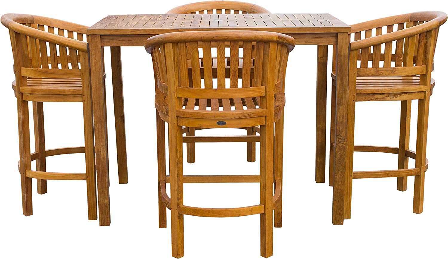 5 Piece Teak Wood Peanut Patio Bistro Bar Set With 4 Bar Chairs And 55 Bar Table Made From Solid A Grade Teak Wood Garden Outdoor