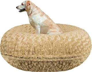 product image for BESSIE AND BARNIE Signature Camel Rose Extra Plush Faux Fur Bagel Pet/Dog Bed (Multiple Sizes)