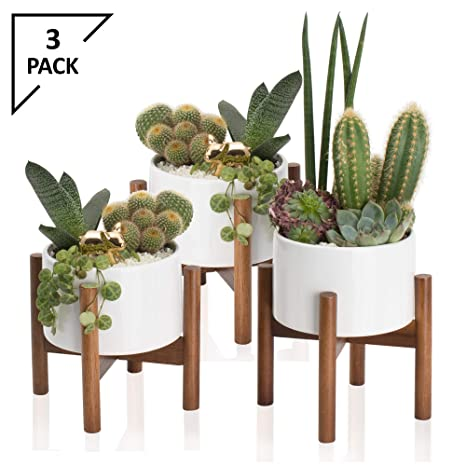 Amazon Com 3 Pack Mid Century Modern Succulent Planter Tabletop