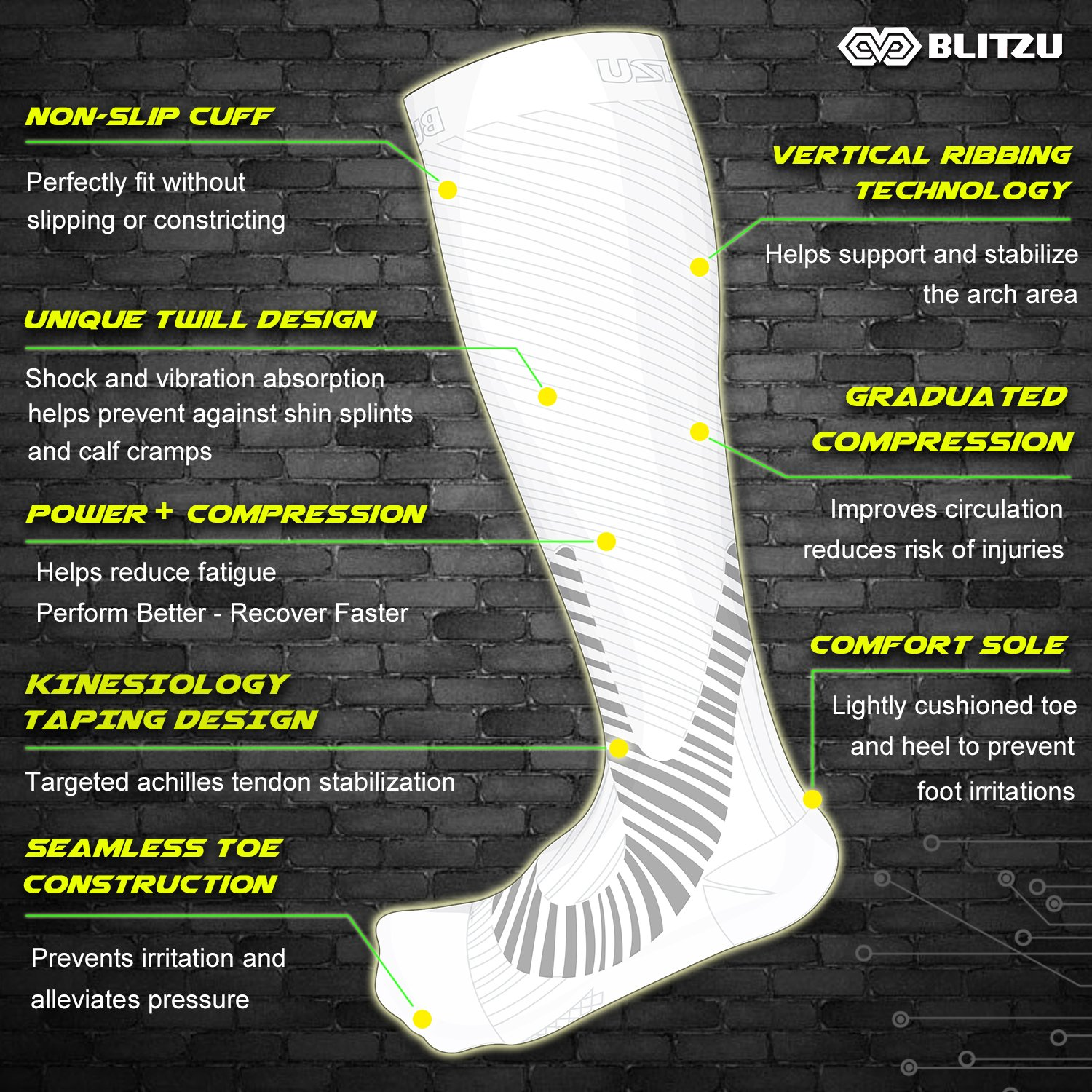 Blitzu Compression Socks 20-30mmHg for Men & Women BEST Recovery Performance Stockings for Running, Medical, Athletic, Edema, Diabetic, Varicose Veins, Travel, Pregnancy, Relief Shin Splint White L/XL by BLITZU (Image #4)