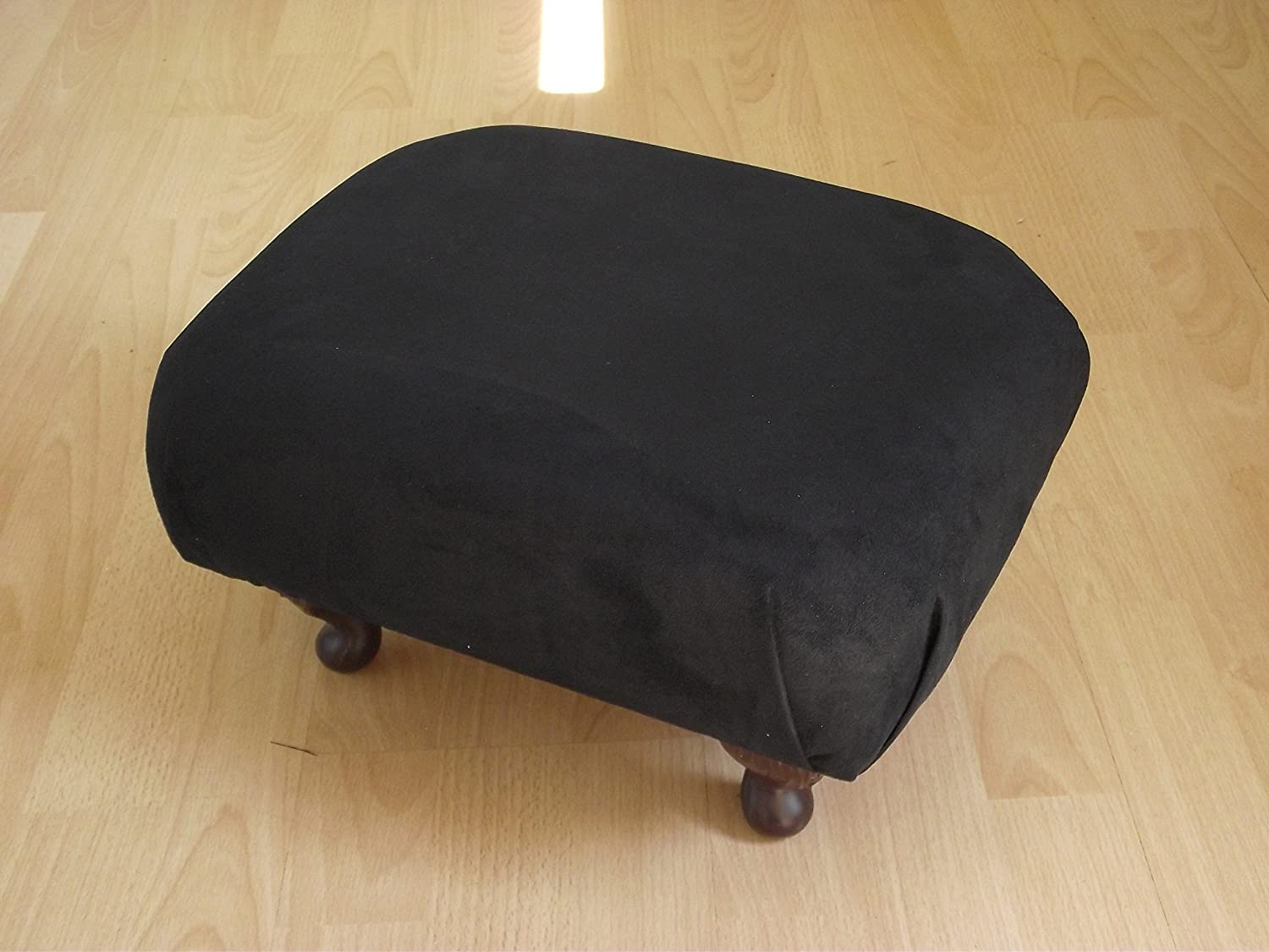 Superb black crushed velvet fabric small footstool silver chrome metal legs new