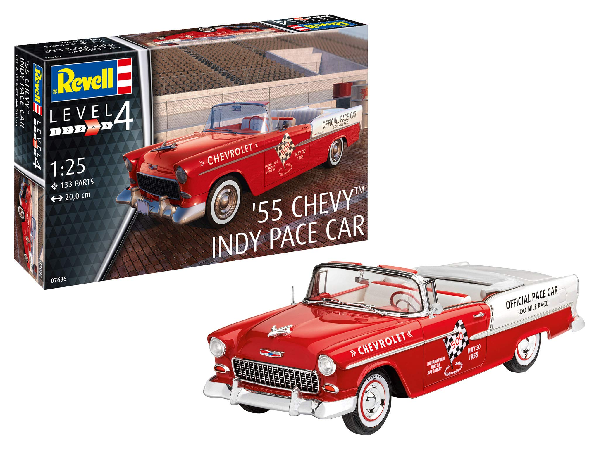 Revell GmbH Revell 07686 7686 1:24 '55 Chevy Indy Pace Car Plastic Model Kit, Multicolour, 1/25