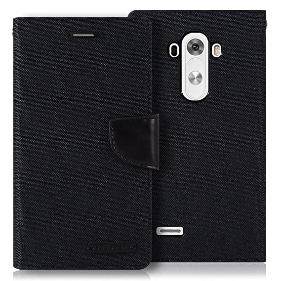 best service 24b8f 6c480 LG G3 Case, [Drop Protection] GOOSPERY Canvas Diary [Denim Material] Wallet  Case [ID Credit Card and Cash Slots] with Stand Flip Cover for LG G3 - ...