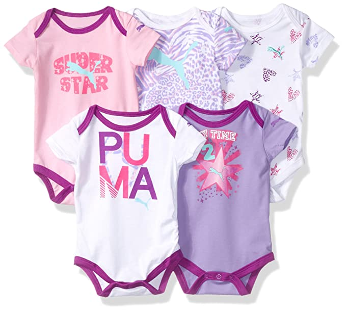e951bc8bfc34b PUMA Baby-Girls 5 Pack Ss Bodysuits Bodysuit