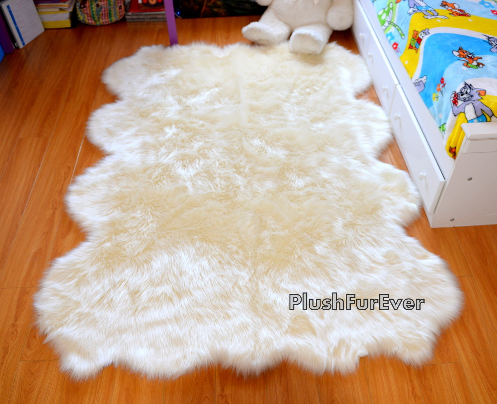 SC Love Collections Plush Sheepskin Octo Eight Pelts Warm White Shaggy Luxurious Home Accents Decor (5' x 7' feet) by Fur Accents (Image #2)