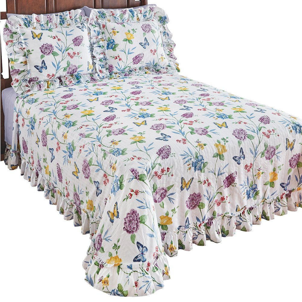 Collections Butterfly Joy Floral Lightweight Plisse Summer Cotton Ruffle Bedspread, Queen